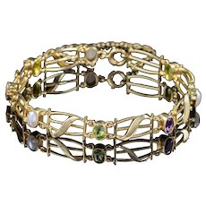 Antique Victorian Suffragette Bracelet 15ct Gold Circa 1900