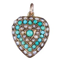 Antique Victorian Turquoise Pearl Heart Pendant Locket 18ct Gold Circa 1900