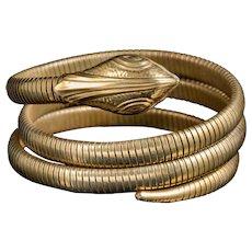 Antique Victorian Coiled Snake Bangle Gold Gilt Circa 1900