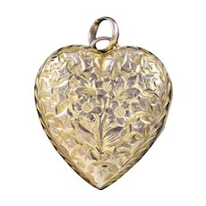 Antique Victorian Floral Heart Locket 9ct Gold Back And Front Circa 1900