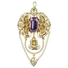 Antique Edwardian Suffragette Drop Pendant 18ct Gold Amethyst Circa 1910