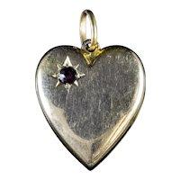 Antique Victorian Garnet Heart Pendant 15ct Gold Circa 1900