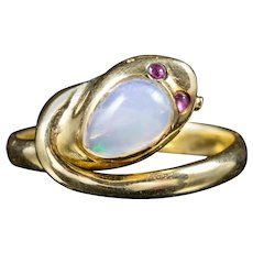 Antique Victorian Opal Snake Ring 18ct Gold Ruby Eyes Circa 1900