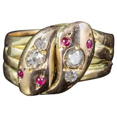 Antique Victorian Ruby Diamond Snake Ring 18ct Gold Circa 1900
