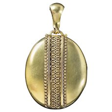 Antique Victorian Gold Gilded Silver Locket Circa 1880