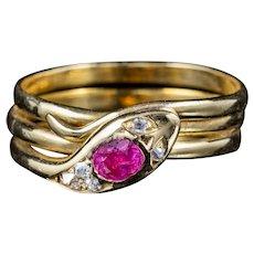 Antique Victorian Ruby Diamond Snake Ring Circa 1900