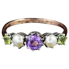 Antique Victorian Suffragette Ring 9ct Gold Silver Circa 1900