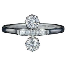 Double Diamond Engagement Ring 18ct White Gold Dated 1979
