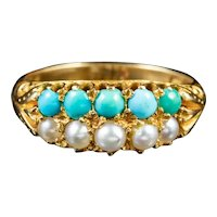 Antique Victorian Turquoise Pearl Ring 18ct Gold Circa 1880