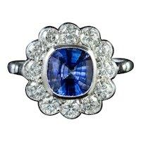 Sapphire Diamond Cluster Ring Platinum 1.80ct Sapphire