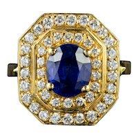 Vintage Sapphire Diamond Cluster Ring 18ct Gold 1.60ct Sapphire