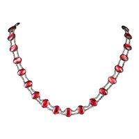 Antique Georgian Red Paste Stone Collar Necklace Cut Steel Circa 1800