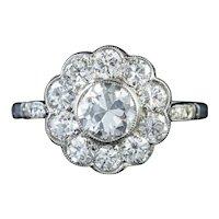 Antique Edwardian Diamond Cluster Ring 18ct Gold 1.80ct Of Diamond Circa 1915