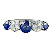 Antique Edwardian Sapphire Diamond Five Stone Ring Platinum Circa 1910