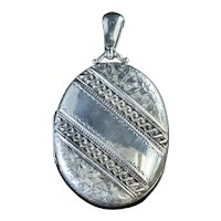 Antique Victorian Silver Locket Ivy Circa 1881