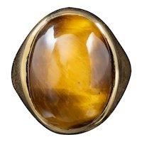 Vintage Large Tigers Eye Gold Signet Ring Circa 1970