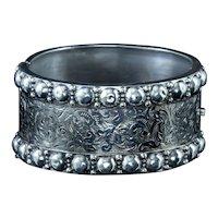Antique Victorian Cuff Bangle Sterling Silver Circa 1880