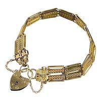 Antique Victorian Gate Bracelet 9ct Gold Heart Padlock Circa 1900