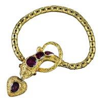 Antique Georgian Almandine Garnet Snake Bracelet 18ct Gold Heart Locket Circa 1820
