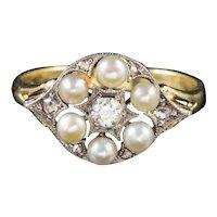 Vintage Pearl Diamond Cluster Ring 9ct Gold Circa 1975