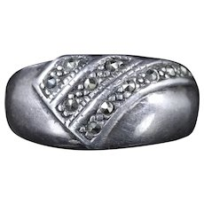 Cut Steel Silver Ring Band Ring