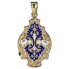 Antique Victorian Enamel Locket 15ct Gold Circa 1890