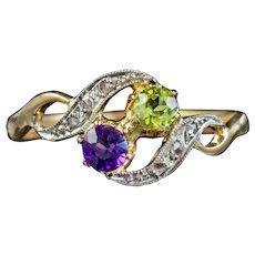 Antique French Suffragette Twist Ring 18ct Gold Amethyst Diamond Peridot Circa 1915