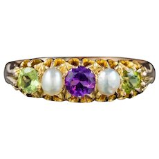 Antique Edwardian Suffragette Ring Amethyst Peridot Pearl 18ct Gold Circa 1910