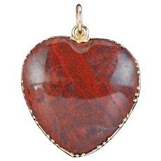 Antique Victorian Agate Heart Pendant 18ct Gold Circa 1890