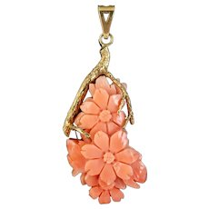 Vintage Coral Flower Pendant 9ct Gold Dated 1979