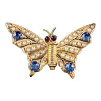 Antique Victorian Sapphire Pearl Butterfly Brooch 18ct Gold Circa 1900