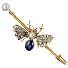 Antique Victorian Sapphire Diamond Pearl Bee Brooch 18ct Gold Circa 1900