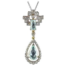 Aquamarine Diamond Pendant Necklace Silver 18ct Gold 3.30ct Of Aqua