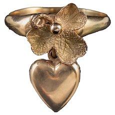 Antique Victorian Shamrock Ring 9ct Gold Heart Charm Circa 1880