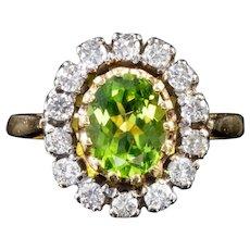 Vintage 2.50ct Peridot 1.50ct Diamond Cluster Ring Circa 1930