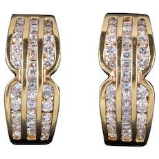 Vintage 2.5ct Diamond Hoop 18ct Gold Earrings