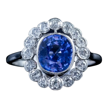 Old Cut 2ct Sapphire 1ct Diamond Cluster Ring Platinum