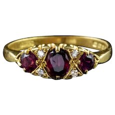 Vintage Ruby Diamond Gypsy Trilogy Ring 18ct Gold London 1972