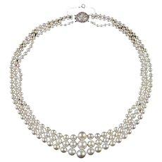 Antique Victorian Triple Pearl Necklace Georgian Diamond Clasp Circa 1900
