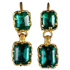 Antique Victorian Paste Double Drop Earrings 18ct Gold Circa 1900