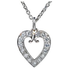 Vintage Diamond Heart Pendant Necklace 18ct White Gold Chain 1.20ct Of Diamond