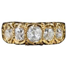 Antique Victorian Diamond Ring 18ct Gold 1ct Of Old Cut Diamond Dated 1875