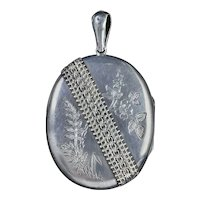 Antique Victorian Forget Me Not Locket Sterling Silver Circa 1880