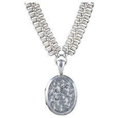 Antique Victorian Collar And Locket Sterling Silver Dated 1882