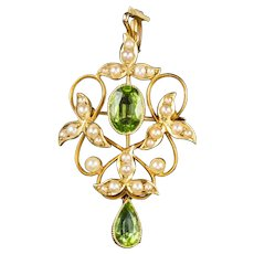 Antique Victorian Peridot Pearl Dropper Pendant 15ct Gold Circa 1890