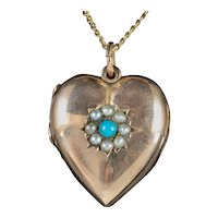 Antique Victorian Turquoise Pearl Heart Locket Necklace 9ct Gold Dated 1898