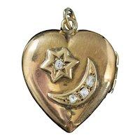 Antique Edwardian Diamond Heart Locket Crescent Star 18ct Gold Dated 1909