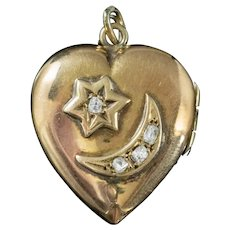 Antique Edwardian Diamond Heart Locket Crescent Star 18ct Gold Dated 1909