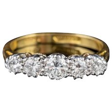 Antique Edwardian Five Stone Diamond Ring 18ct Gold Platinum Circa 1905