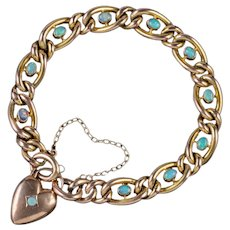 Antique Victorian Opal Curb Bracelet 9ct Gold Heart Padlock Circa 1900